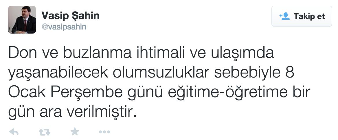 vali vasip şahin okullar tatil tweeti